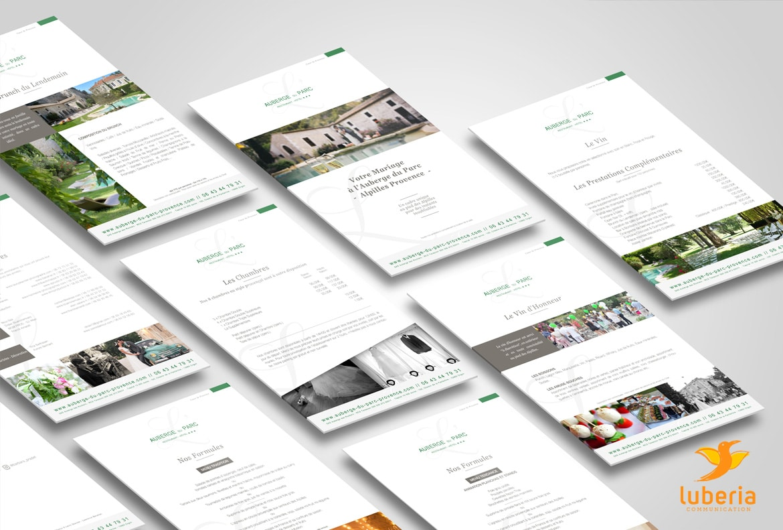 Creation presentation pdf de l'Auberge du Parc