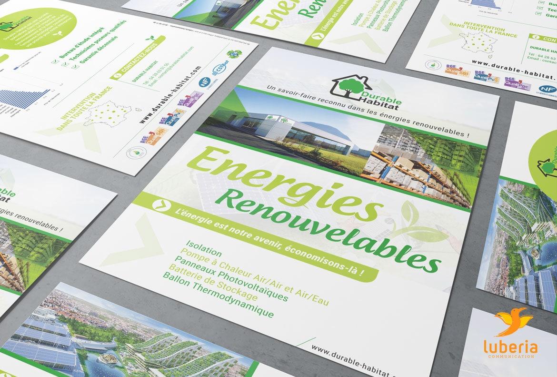 Impression flyer A5 Durable Habitat et creation logo entreprise par Luberia Communication