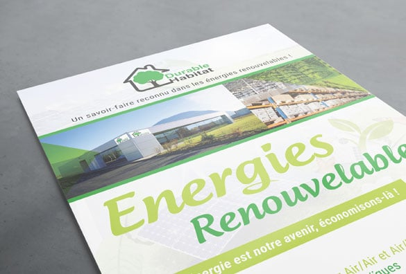 Impression flyer A5 Durable Habitat et creation logo entreprise par Luberia Communication