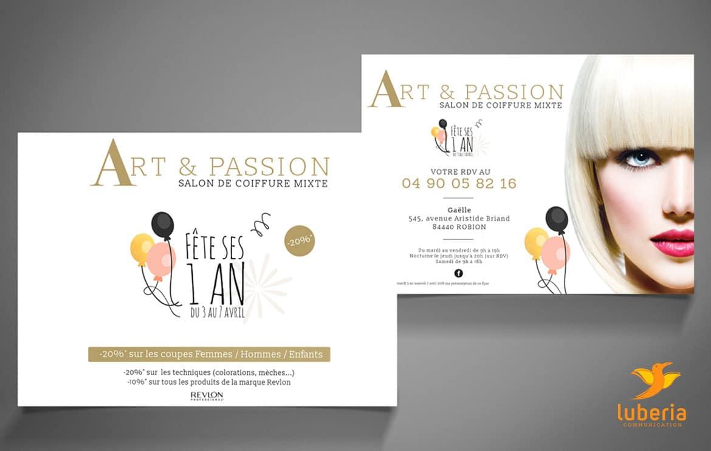 Carte de visite pour salond e coiffure Art et Passion avec creation logo entreprise